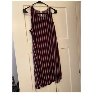 Red, white and navy striped tank dress w pockets